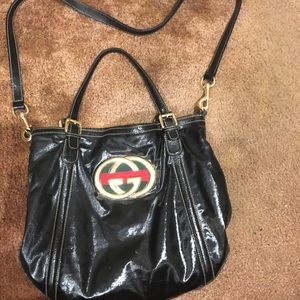 Authentic Gucci Dialux Britt Black Shoulder Bag